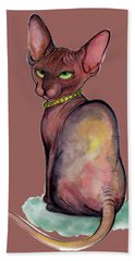 Fashionable Sphynx Bath Towel by Akiko Okabe