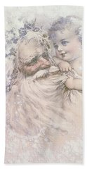 Father Christmas And A Child Hand Towel