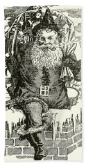 Father Christmas Climbing Down A Chimney Hand Towel