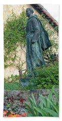 Father Junipero Serra Statue At Mission Carmel Hand Towel