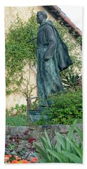 Father Junipero Serra Statue At Mission Carmel Bath Towel