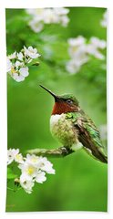 Fauna And Flora - Hummingbird With Flowers Bath Towel by Christina Rollo