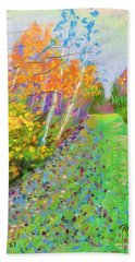 Favorite Fall Scene Bath Towel by Rae  Smith