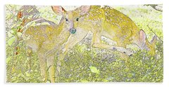 Fawn Twins Digital Painting Hand Towel