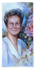 Bath Towel featuring the painting Faye by Patricia Schneider Mitchell
