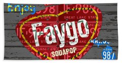 Faygo Soda Pop Recycled Vintage Michigan License Plate Art On Gray Distressed Barn Wood Hand Towel