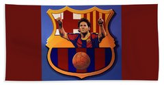 Fc Barcelona Painting Hand Towel by Paul Meijering
