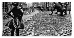 Fearless Girl And Wall Street Bull Statues 3 Bw Hand Towel