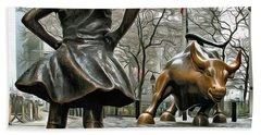 Fearless Girl And Wall Street Bull Statues 5 Bath Towel