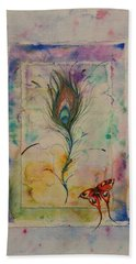 Feather And Butterfly Hand Towel