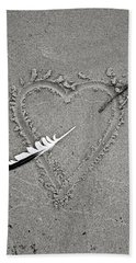Feather Arrow Through Heart In The Sand Hand Towel