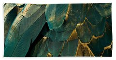 Feather Glitter Teal And Gold Hand Towel by Mindy Sommers