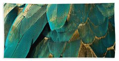 Feather Glitter Turquoise Bath Towel