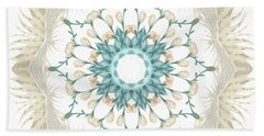 Hand Towel featuring the digital art Feathers And Catkins Kaleidoscope Design by Mary Machare