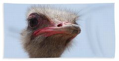 Feathers Standing Around The Head Of An Ostrich Bath Towel by DejaVu Designs