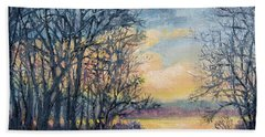 Hand Towel featuring the painting February Sky by Kathleen McDermott