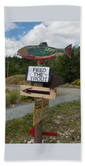 Feed The Trout Bath Towel by Suzanne Gaff