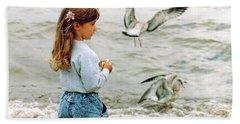 Feeding Gulls Bath Towel