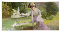 Feeding The Doves  Hand Towel by Edmond Alphonse Defonte