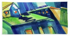 Bath Towel featuring the painting Feedmill In Blue And Green by Kathy Braud