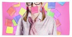Female Admin Clerk Swamped With Multitasking Jobs  Hand Towel