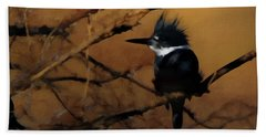Hand Towel featuring the digital art Female Belted Kingfisher 2 by Ernie Echols