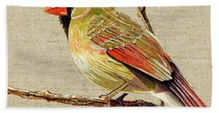 Bath Towel featuring the painting Female Cardinal by Bob Coonts