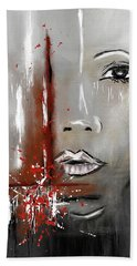 Female Half Face On Grey Abstract Bath Towel