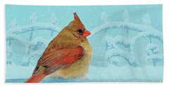 Bath Towel featuring the photograph Female Northern Cardinal In Winter by Janette Boyd