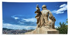 Bath Towel featuring the photograph Female Sculpture At Montjuic by Eduardo Jose Accorinti