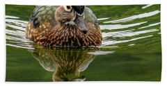 Hand Towel featuring the photograph Female Wood Duck by Jean Noren