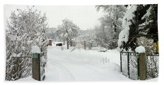 Fence And  Gate In Winter Hand Towel