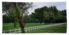 Fence On The Wooded Green Bath Towel