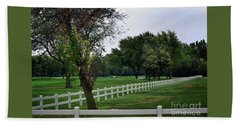 Fence On The Wooded Green Hand Towel