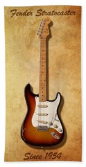 Fender Stratocaster Since 1954 Bath Towel by WB Johnston