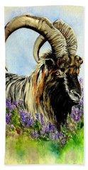 Feral Highland Buck In Heather Hand Towel by Ruanna Sion Shadd a'Dann'l Yoder