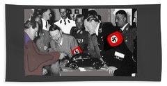 Ferdinand Porsche Showing The Prototype Of The Vw Beetle To Adolf Hitler 1935-2015 Hand Towel