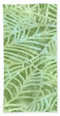 Fern Green Fossil Leaves Hand Towel