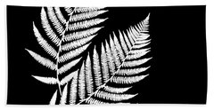 Bath Towel featuring the mixed media Fern Pattern Black And White by Christina Rollo