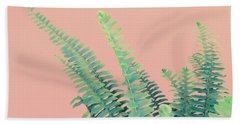 Ferns On Pink Bath Towel