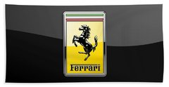 Ferrari 3d Badge- Hood Ornament On Black Hand Towel