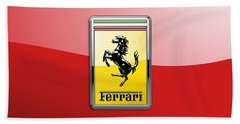 Ferrari 3d Badge-hood Ornament On Red Hand Towel