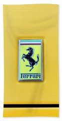 Hand Towel featuring the photograph Ferrari Badge by Theresa Tahara