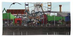 Ferris Wheel At Santa Monica Pier Hand Towel
