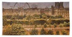Paris, France - Ferris Wheel Bath Towel
