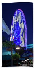 Ferris Wheel, Night Motion, The State Fair Of Texas Hand Towel