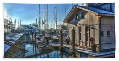 Bath Towel featuring the photograph Ferry Harbour In Winter by Frans Blok