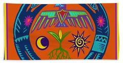 Bath Towel featuring the digital art Fertility Dance by Vagabond Folk Art - Virginia Vivier