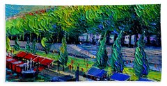 Festive Barges On The Rhone River Hand Towel