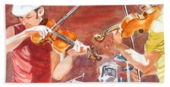 Hand Towel featuring the painting Fiddles by Karen Ilari